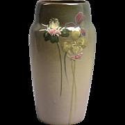 Weller Pottery Vase, 1898-1918 Eocean Cylinder Vase with Clover