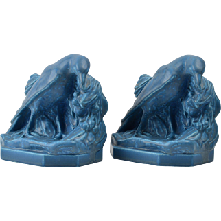 Rookwood Pottery Bookends, 1936 Matte Blue Rook Bookends #2275