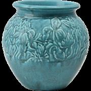 Rookwood Pottery Vase, 1928 Matte Blue Clover Incised Vase #5029