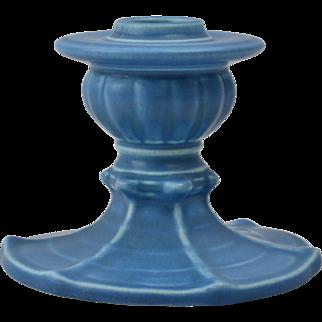 Rookwood Pottery Candle Holder, 1928 Matte Blue Spider Web Candle Holder #2961