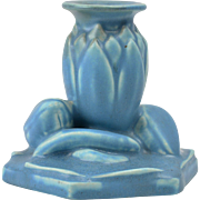 Rookwood Pottery Candle Holder, 1944 Matte Blue Water Lily Candle Holder #2992