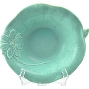 Rookwood Pottery Bowl, 1943 Matte Light Green Lilypad and Flower Bowl #2875