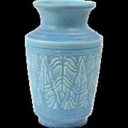 Rookwood Pottery Vase, 1936 Matte Blue Fern Leaf Vase #6588