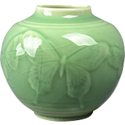 Rookwood Pottery Vase, 1947 Gloss Celadon Butterfly Round Vase #6509