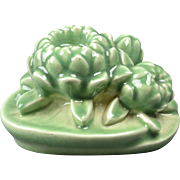Rookwood Pottery Bookend, 1944 Gloss Celadon Water Lily Book End #2836