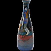 Pillin Pottery Vase, Horse and Rider Blue Bottle Vase