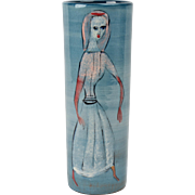Pillin Pottery Vase, Woman with Bird Teal Cylinder Vase