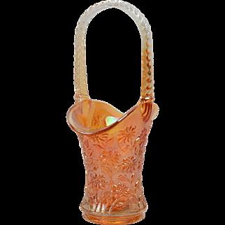 Imperial Glass Vase, 1970 Marigold Rubigold Carnival Daisy Basket