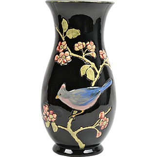 Weller Pottery Vase, 1910 Rosemont Blue Jay Vase