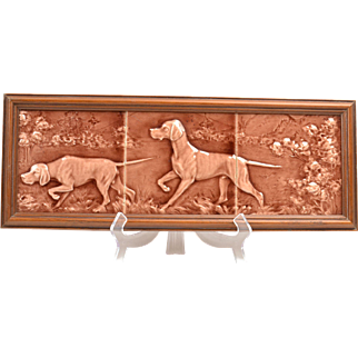 American Encaustic Tiles, Hunting Dogs Tiles Framed