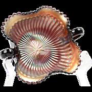 Northwood Glass Nappy Bowl, 1900's Amethyst Carnival Stippled Ray Nappy Bowl