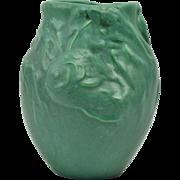Owens Pottery 1907 Aqua Verdi Fish Vase