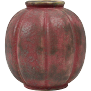Burley Winter Pottery 1920's Purple Gray Vellum Pumpkin Vase