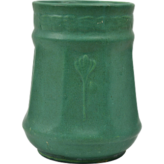 Zanesville Stoneware Pottery Vase, 1910-20 Matt Green Floral Elephant Leg Vase #11