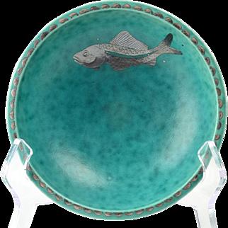 Gustavsburg Argenta Swedish Bowl, 1930's Green with Silver Overlay Fish Bowl