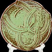 Frankoma Pottery 1970's Prairie Green Good Luck Trivet 5TR