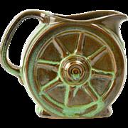 Frankoma Pottery 1960's Prairie Green Wagon Wheel Creamer Sapulpa