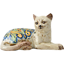 Antique Art Pottery Floral Laying Cat