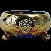 Fenton Glass 1910 Vintage Carnival Cobalt Blue Fernery Footed Bowl #922