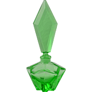 Bohemian Glass Perfume, 1940's Green Glass Star Perfume Bottle