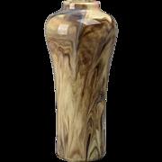 Weller Pottery Vase, 1914 Tan Gray Beige Marbleized Corset-shape Vase