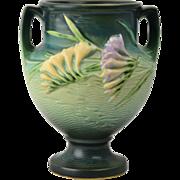 Roseville Pottery Vase, 1945 Green Freesia Handled Vase #196-8 (3 on bottom)