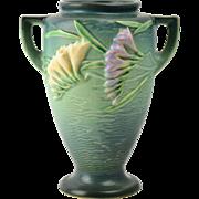 Roseville Pottery Vase, 1945 Green Freesia V-shape Vase #121-8