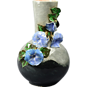 Rookwood Pottery Vase, 1882 Gray Black Bottle Vase with Applied Morning Glories E Blaine