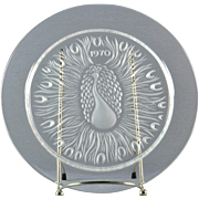 "Lalique Crystal Annual Plate, 1970 Poan ""Peacock"" Annual Plate"