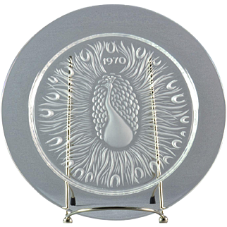 """Lalique Crystal Annual Plate, 1970 Poan """"Peacock"""" Annual Plate"""