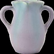 Muncie Pottery Vase, 1930's Green over Lilac Handled Vase #419