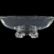 Steuben Crystal Bowl, Steuben 1940's Scroll Feet Bowl John Dreves #7907