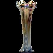 Fenton Glass Vase, 1910 Cobalt Blue Carnival Fine Rib Vase (Golden) #916
