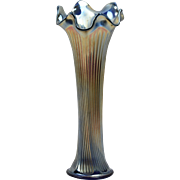 Fenton Glass Vase, 1910 Cobalt Blue Carnival Fine Rib Vase (Silver) #916