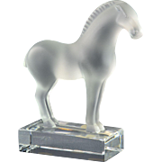 Lalique Crystal Paperweight, 1980 Tang Horse 4 inch Figurine