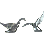 Heisey Glass Animal, Clear Goose Sculptures Landing and Taking Off Set