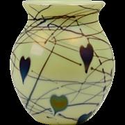 Fenton Glass Vase, 1976 Custard Hanging Hearts Vase