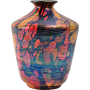 Fenton Glass 1925 Mosaic Threaded Urn Vase #3029-8