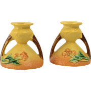 Roseville Pottery Candle Holders, 1951 Bittersweet Saffron Yellow Candle Holders #581-3