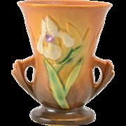 Roseville Pottery Vase, 1939 Iris Brown Vase #914-4