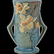 Roseville Pottery Vase, 1943 Magnolia Blue Handled Vase #89-7