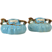 Roseville Pottery Candle Holders, 1949 Ming Tree Celestial Blue Candle Holders #551