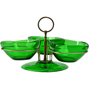 Vereco France 1970s MCM Green Glass with Brass Stand Relish Server Caddy