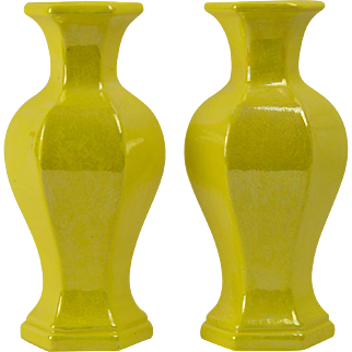 Western Reserve Ceramics 1950's Luster Yellow Vases Pair Cleveland, Oh
