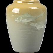 Owens Pottery Vase, 1896-1907 Gray Lotus Fish Vase #1258 Frank Ferrell