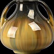 Fulper Pottery Vase, 1920's Yellow Flambe' Handled Vase