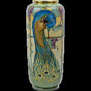 American Satsuma Vase, 1931 Peacock Gold Gild Vase L. Springer