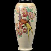 American Satsuma Vase, 1930's Exotic Bird Vase