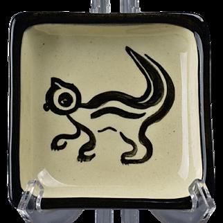 Century House Pottery 1953 Square Ivory Black Trinket Tray