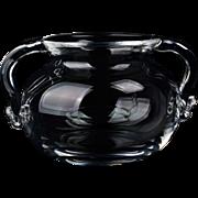 Steuben Crystal Glass Handled Jar with Original Bag